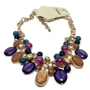 "Carol Dauplaise Necklace 19"" Multi-Color NWT"
